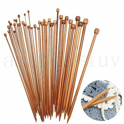 36 Pcs 18 size Smooth Carbonized Bamboo Single Pointed Knitting Needles 2MM-10MM