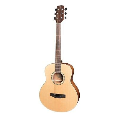 NEW Timberidge Mini Travel Solid Spruce Top Acoustic-Electric Guitar w Hard Case