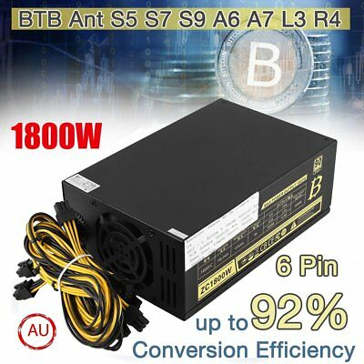 1800W Server Miner Mining Dedicated Power Supply 6Pin For BTB S5 S7 S9 A6 A7 AU