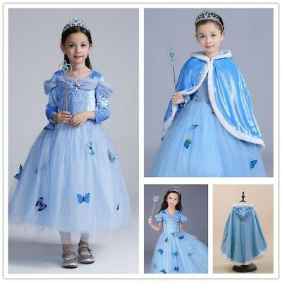 Kids Girl's Sandy Princess Cinderella Cosplay Costume Party Butterfly Dress Cape