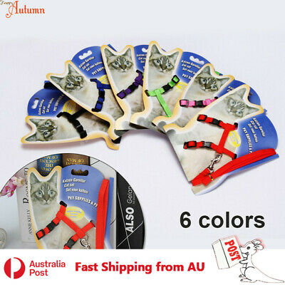 Adjustable Cat Kitten Harness Leash Set Walk Collar Nylon Puppy Pet 7 Colors