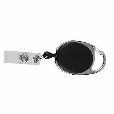 Retractable Reel Pull Key ID Card Badge Tag Clip Holder Carabiner Style QW