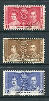 Swaziland: 1937 George VI Coronation Set of 3 Stamps SG25-27 Fine Used AX006