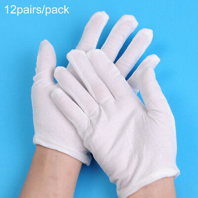 Jewellers Jewellery Handling Gloves White Cotton Soft Gloves 12 Pairs 24 Pieces