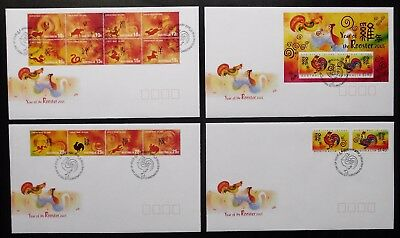 CHRISTMAS ISLAND 2005 Chinese New Year, Year of the Rooster, FDC x 4 covers