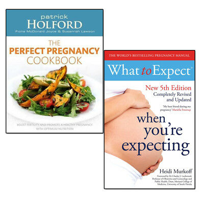 What to Expect When You're Expecting, Perfect Pregnancy Cookbook 2 Books Set NEW