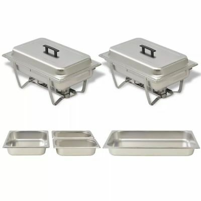 Chafing Dish Set Stainless Steel 2pc Kitchen Catering Party Hot Food Warmer Pans