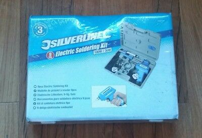 Pro 9pc Silverline 100w Electric Soldering Gun & 30w Iron Solder Stand Tool Kit