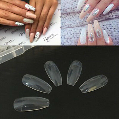 PRO Transparent Blanc naturel long Ballerine Coffin COMPLET faux ongles art tips
