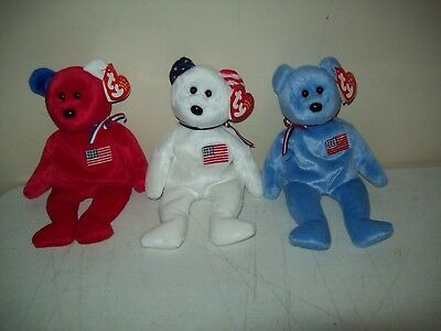 TY beanie babies America bears set of 3 Red White & Blue pre-owned pristine