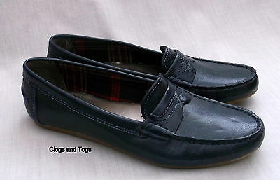New Clarks Hermione Flower Navy Blue Leather Lightweight Shoes With Tan  Soles