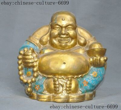 old China bronze Cloisonne 24k gold Gilt yuanbao laughter maitreya Buddha Statue