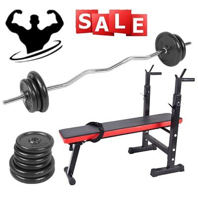 120Cm Curl Lifting Bar & Heavy Duty Cast Iron Weights Bar & Sit Up Weight Bench