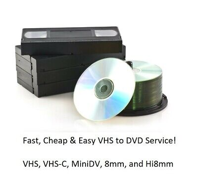 Video Tape Transfer Service to DVD: Includes VHS, MINIDV, and Hi8mm
