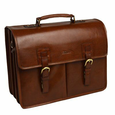 Ashwood Gareth Heavy Duty Genuine 100% Leather Briefcase Business Bag Chestnut
