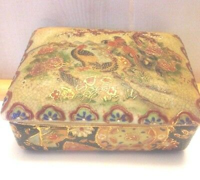 Vintage Hand-Painted ROYAL SATSUMA Rectangle Trinket Box with Lid - Marked