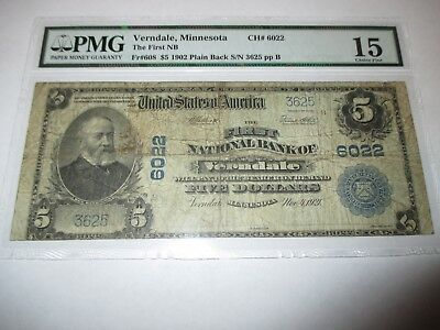 $5 1902 Verndale Minnesota MN National Currency Bank Note Bill Ch. #6022 FINE!
