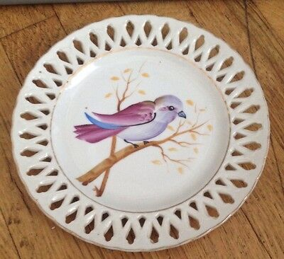 Chase Vintage Porcelain Hand Painted Bird Lattice 8 Inch Plate