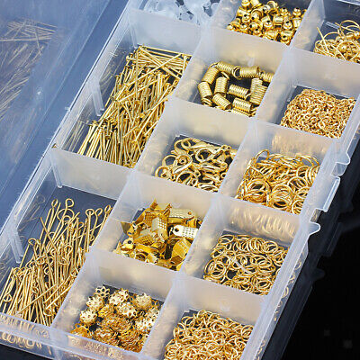 580pcs Jewelry Making Findings Supplies Jump Ring Lobster Clasps Kit Gold