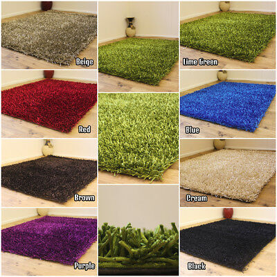 New Premium 3Cm Thick Beautiful Shiny Multi Color Shimmer Shaggy Clearance Rug