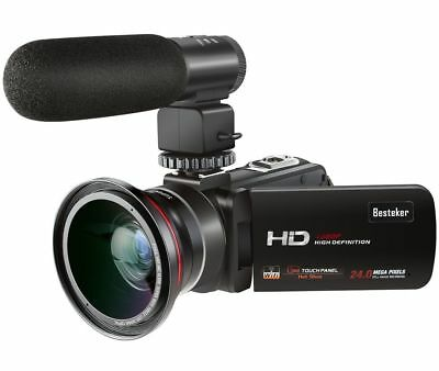 Video Camcorder, Besteker 1080P 30FPS Wifi Full HD PLUS External Microphone and