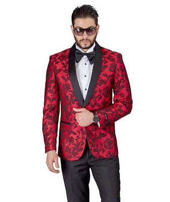 Red Floral Shawl Satin Lapel Jacket Only Tuxedo Slim Fit 1 Button Blazer AZAR