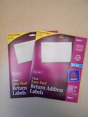 "2 PACK Avery Clear Easy Peel Return Address Labels 1/2"" x 1-3/4""  of 800 (18667)"