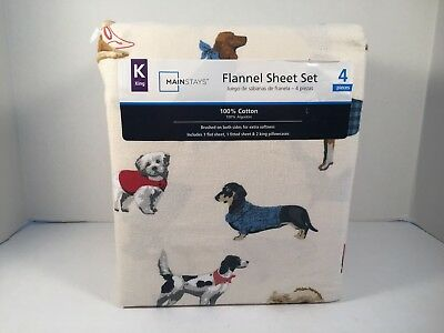 Dog Bed Sheets King Size Mainstays Flannel 4 Piece Sheet Set Dogs