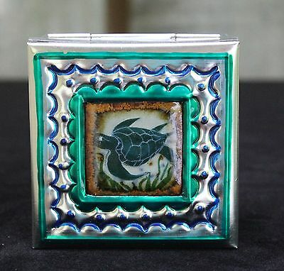 Sm Tin Box & Ceramic Tile of Sea Turtle by Tirso Cuevas, Mexican Folk Art Oaxaca