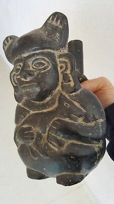 "Pre-Columbian MOCHE ""Dog-earred"" STIRRUP SPOUTED  FIGURAL VESSEL Holding Animal"