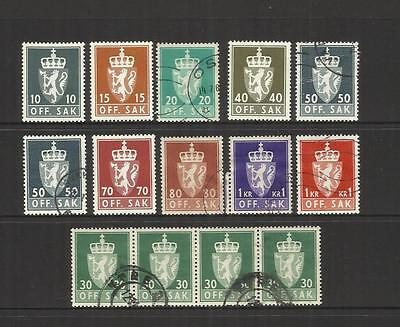 Norway Norge ~ 1969-74 Official Service Stamps (Part Set) Used