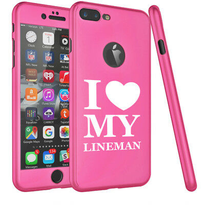 For iPhone 360° Thin Slim Hard Case Cover + Screen Protector I Love My Lineman