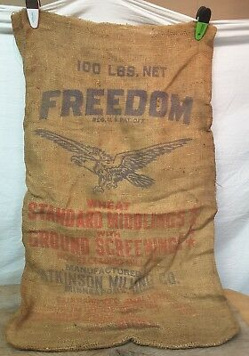 Vintage FREEDOM Wheat Middlings Feed Gunny Sack Atkinson Mill Mpls Bag