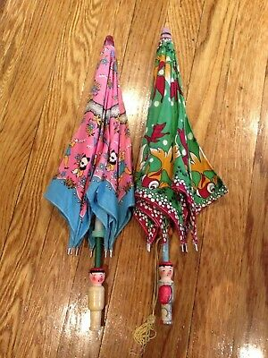 Vintage Childs Printed Cotton Wood Handles 2 Umbrellas Fish Animals