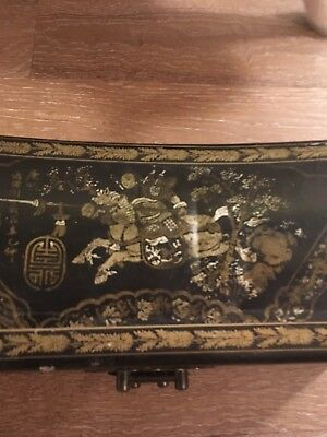 Chinese Pillow box with brass buckle lacquered jewelry box Chinese motif