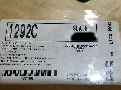 Alpha Wire 1292C 22/2C Twisted Shielded Communication/Control Cable Gray/100ft