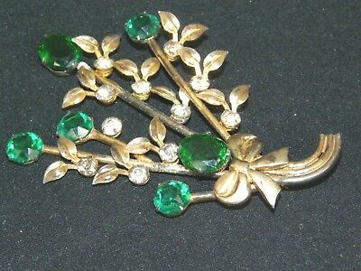 Antique Vintage Old Huge Emerald Green Rhinestone Sterling Silver Flower Brooch