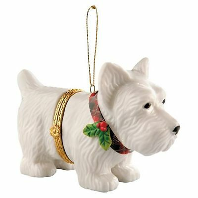 PORCELAIN Hand-Painted WESTIE CHRISTMAS ORNAMENT- New in Box