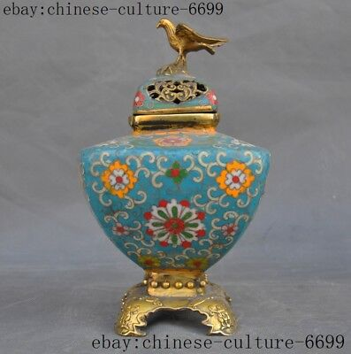 old China bronze Cloisonne Gilt bird statue Incense Burner censer