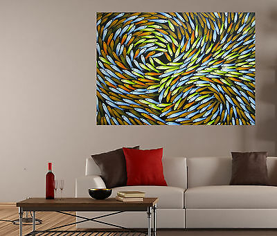 """Large 47"""" Aboriginal inspired Art Painting  abstract Fish Dreaming by Jane"""