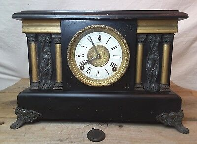 ANTIQUE SESSIONS ADAMANTINE BLACK 8 DAY MANTLE CLOCK  Brass Muses/feet/face