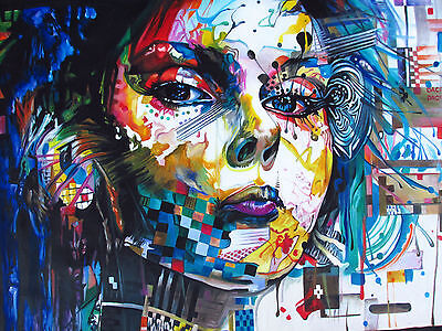 Graffiti Street Urban Girl Stretched Canvas PRINT  Art Modern Framed Painting