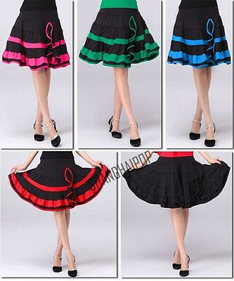 Women Latin Salsa Tango Rumba Cha Cha Ballroom Dance Training Skirt Plus Size