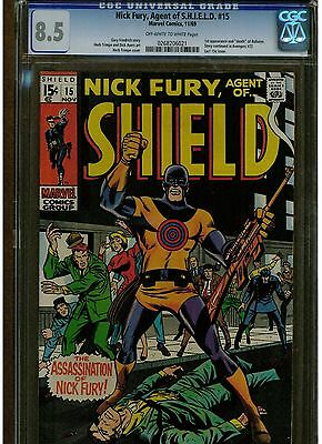 Nick Fury Agent Of Shield #15 Cgc 8.5 1St & Death Of Bullseye 1969 Blue Label