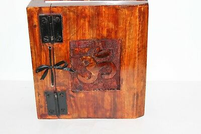 Wooden Carved Aum Om book Journal Keepsake Wicca spell handmade diary