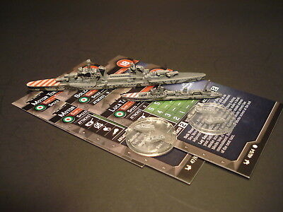 Axis and Allies War at Sea - 4x Italy Vessel Miniatures w/stat cards CMG (#5)