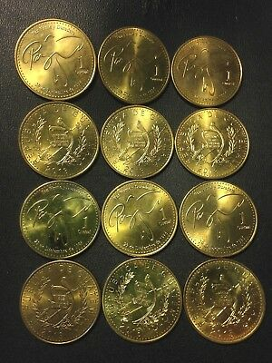 Old Guatemala Coin Lot - 12 EXCELLENT Quetzals - Hard to Find Type - FREE SHIP