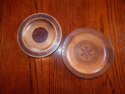 Lot 2 Vntg Carved Wood Plates Polish Poland Folk Wooden 1 with Brass inlay