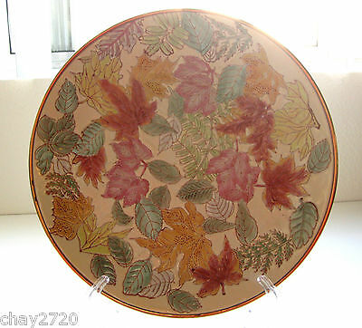 Vtg. Signed & Numbered Chinese Hand-Painted Enameled Porcelain Leaf Decor Plate
