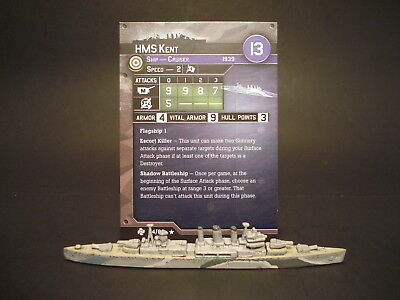 Axis and Allies War at Sea - 14/60 HMS Kent - Cruiser (Rare) - UK(#35)
